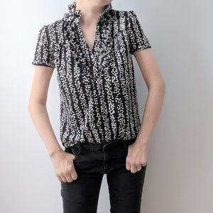 New York and Company Black and White Ruffled Top